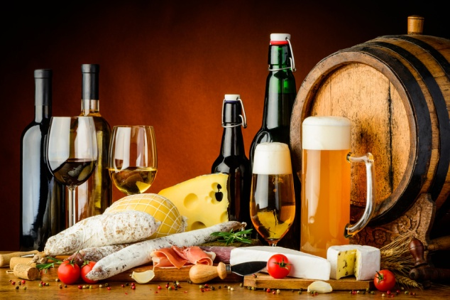 wine, beer and food